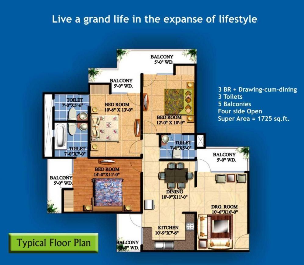 Keltech Golf Vista Floor Plan: 3 BHK Unit with Built up area of 1725 sq.ft 1