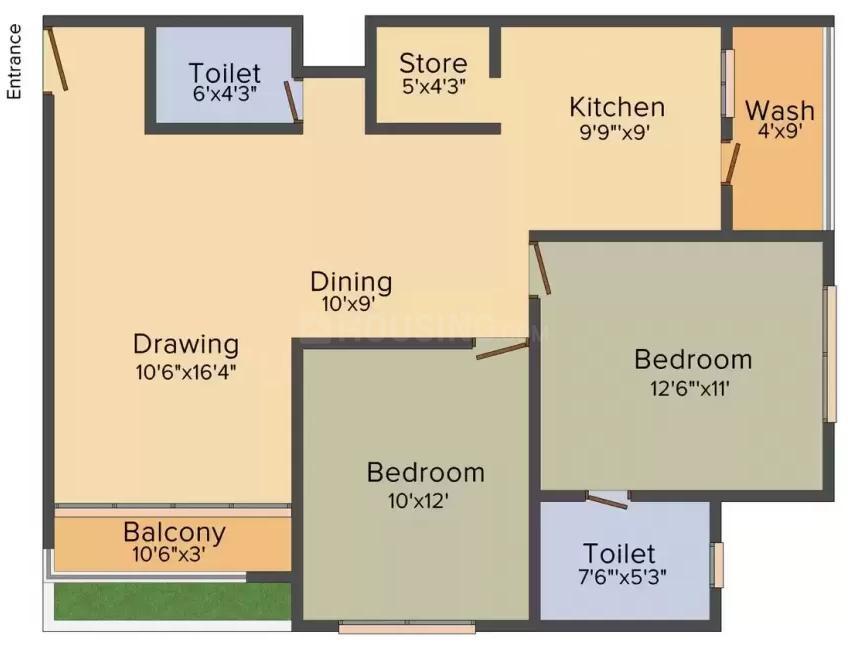 Shaligram Garden Residency III Floor Plan: 2 BHK Unit with Built up area of 1296 sq.ft 1
