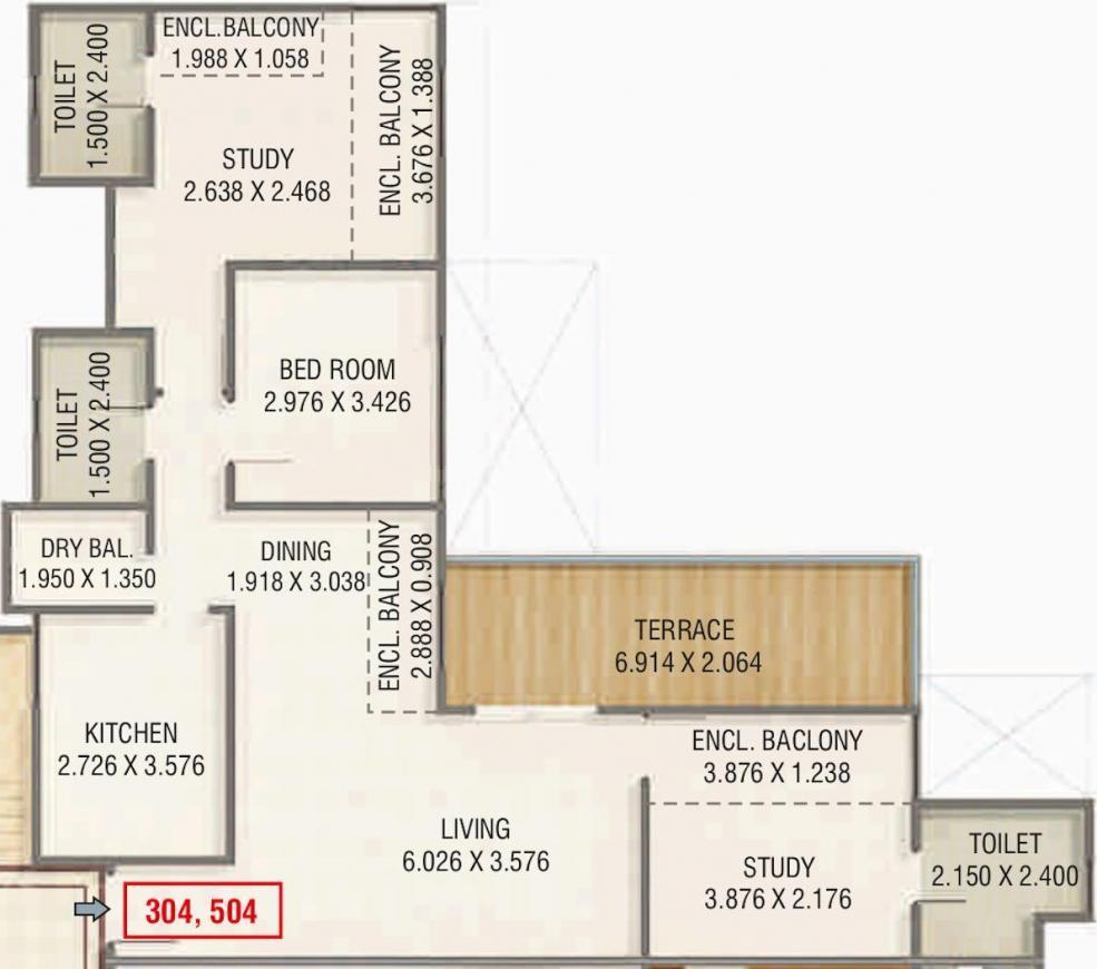 Kumar Peninsula C Floor Plan: 3 BHK Unit with Built up area of 996 sq.ft 1