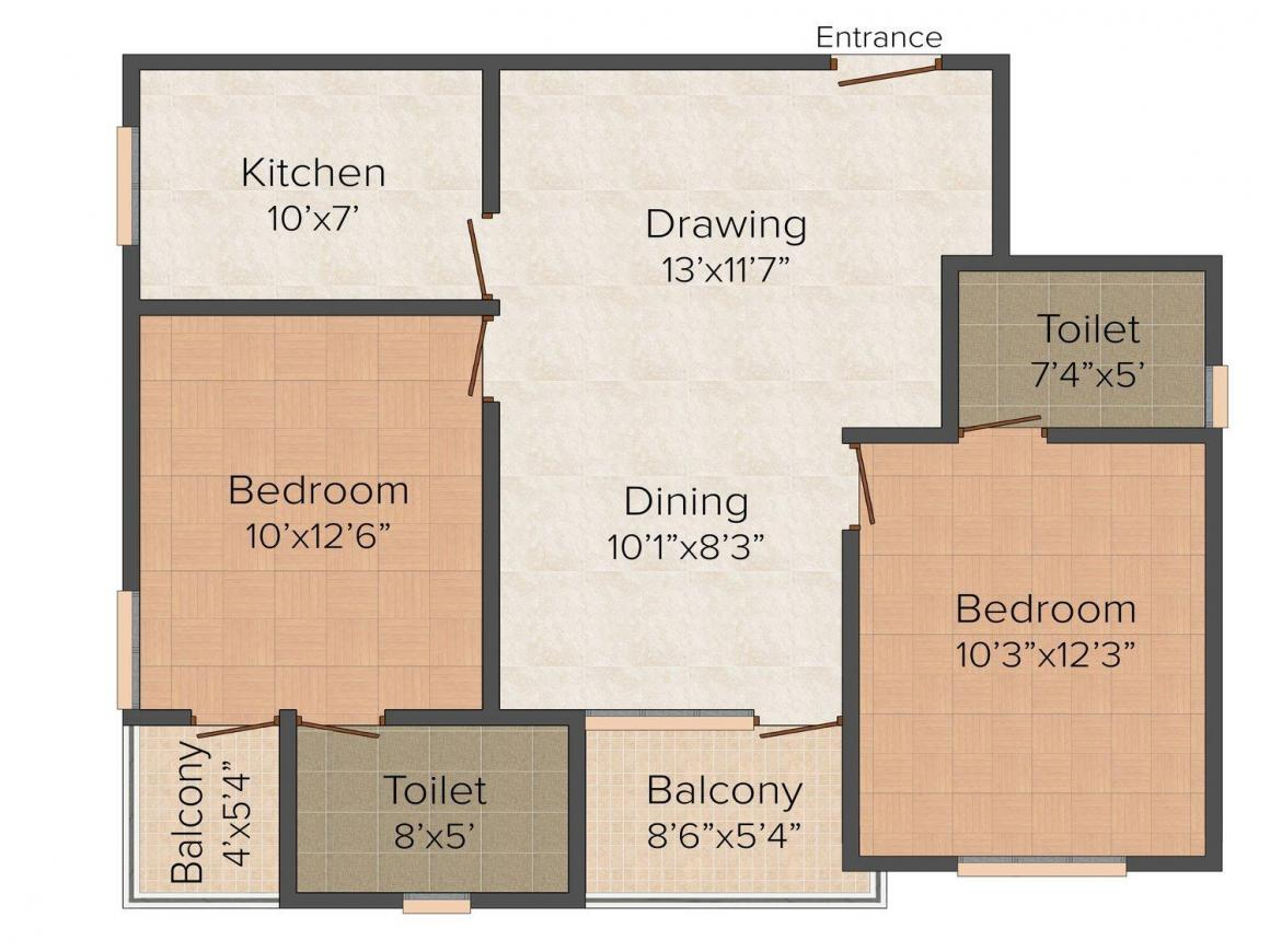 Floor Plan Image of 1050.0 - 1500.0 Sq.ft 2 BHK Apartment for buy in Sarthak Paradise