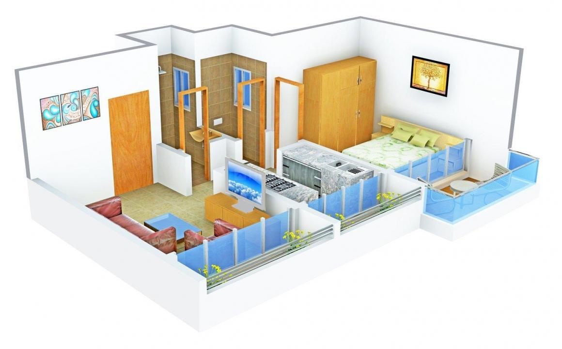 Floor Plan Image of 0 - 490.0 Sq.ft 1 BHK Apartment for buy in Vision Associates Phoenix Nest