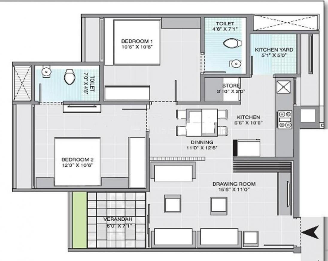 Gala Aria Floor Plan: 2 BHK Unit with Built up area of 1113 sq.ft 2