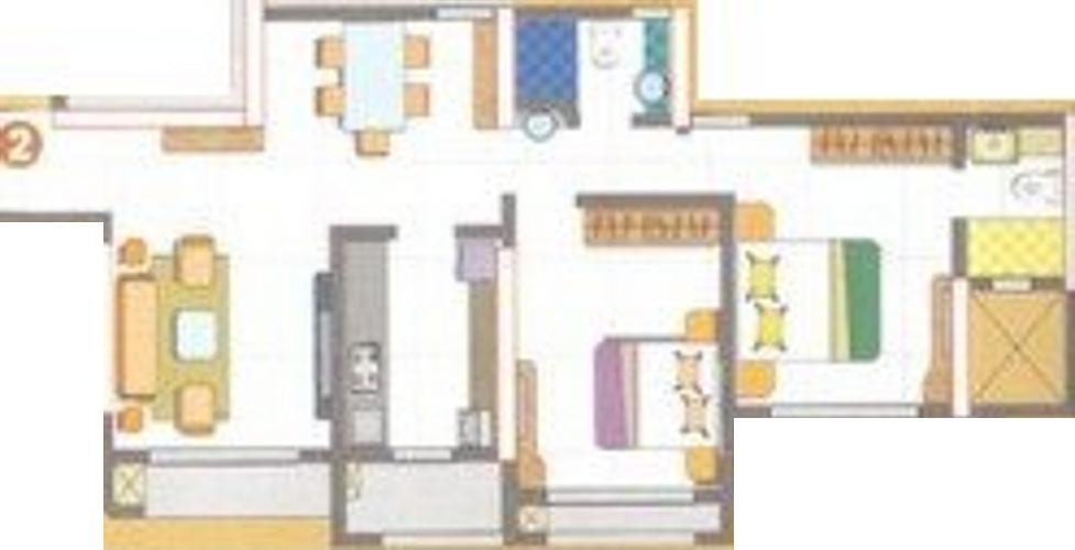 Floor Plan Image of 690.0 - 1350.0 Sq.ft 2 BHK Apartment for buy in Mukul Rushi Heights