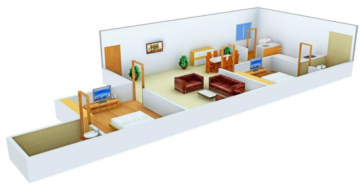 Floor Plan Image of 1338 - 2306 Sq.ft 2 BHK Apartment for buy in Premier Redwood