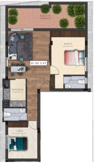 Viva Vara Floor Plan: 2 BHK Unit with Built up area of 950 sq.ft 1