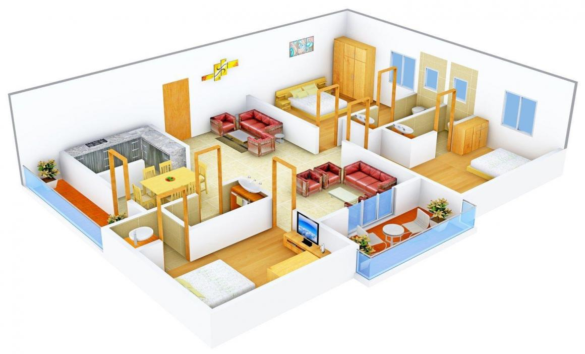 Floor Plan Image of 1620 - 1700 Sq.ft 3 BHK Apartment for buy in Cubix Rishi and Swarna Classic