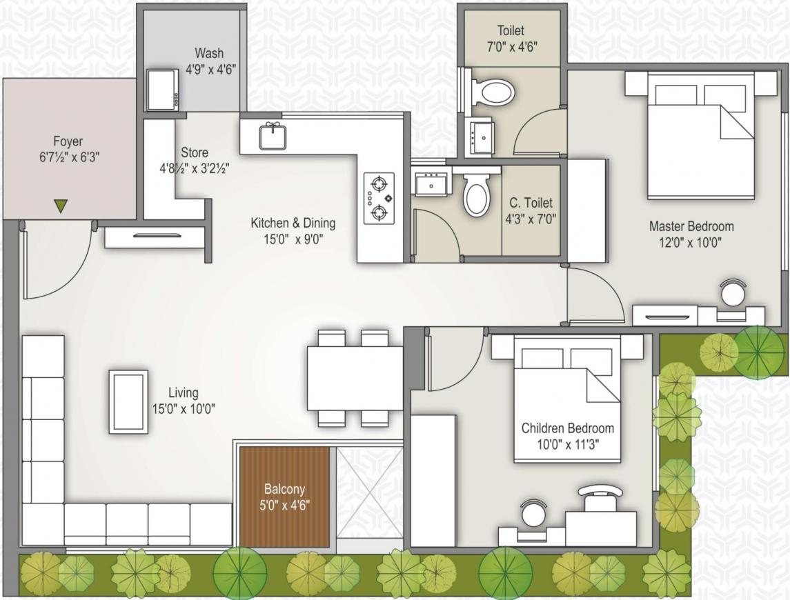 Ratnamani Trident Elanzza Floor Plan: 2 BHK Unit with Built up area of 629 sq.ft 1