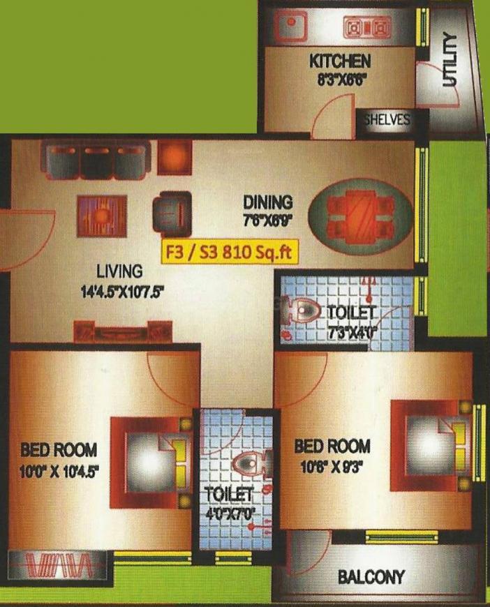 Pranav Constructions Casa Green Floor Plan: 2 BHK Unit with Built up area of 810 sq.ft 1