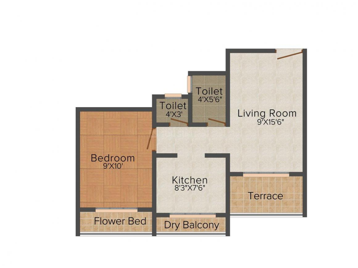Floor Plan Image of 650.0 - 958.0 Sq.ft 1 BHK Apartment for buy in Shree Ganesh Imperial Heights