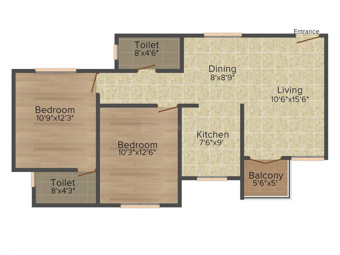 Floor Plan Image of 985.0 - 1450.0 Sq.ft 2 BHK Apartment for buy in Agni Pelican Heights