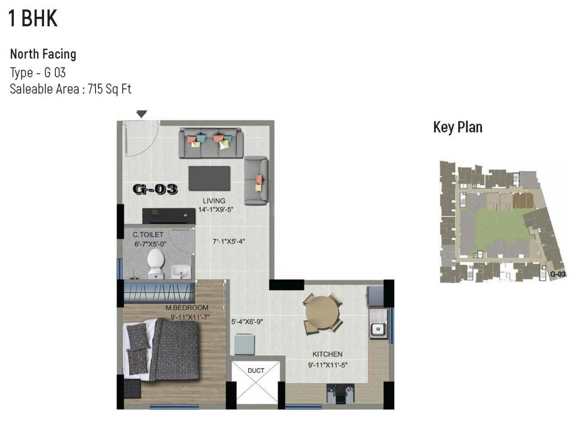 Floor Plan Image of 573.0 - 1453.0 Sq.ft 1 BHK Studio Apartment for buy in Sowparnika The Columns