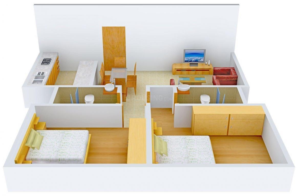 Floor Plan Image of 1018 - 1444 Sq.ft 2 BHK Apartment for buy in Man Aaradhya Saphalya