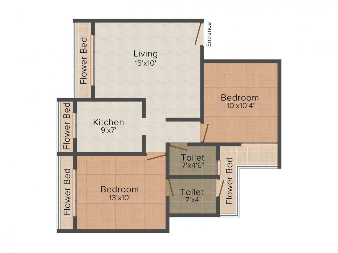 Floor Plan Image of 0 - 1100.0 Sq.ft 2 BHK Apartment for buy in Satyam Aura