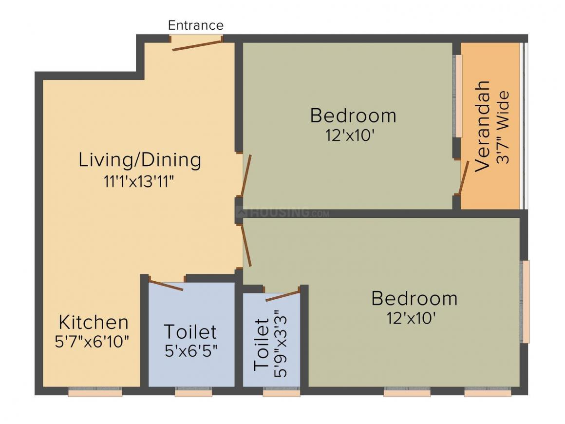 Floor Plan Image of 758.0 - 876.0 Sq.ft 2 BHK Apartment for buy in Saptarshi Apartment