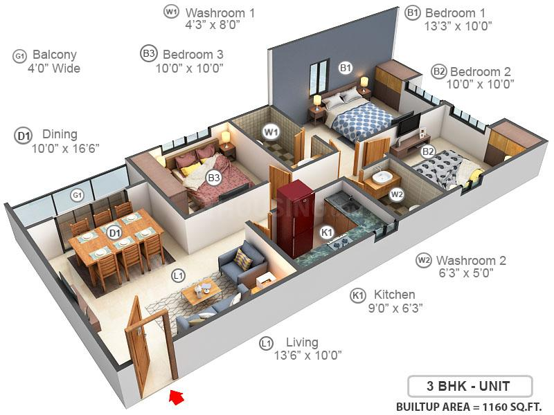 Unimark Springfield Floor Plan: 3 BHK Unit with Built up area of 1160 sq.ft 1