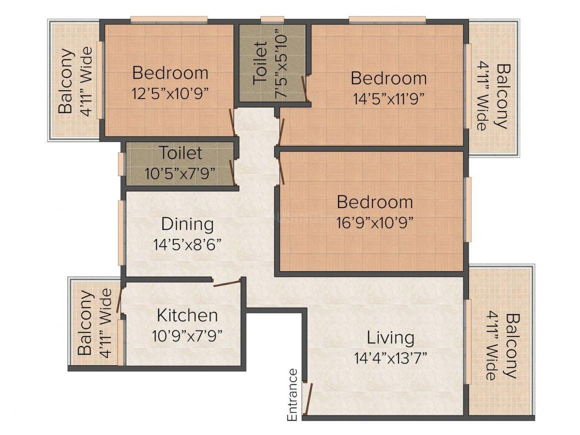 Floor Plan Image of 1561 - 1835 Sq.ft 3 BHK Apartment for buy in Models Celebrity