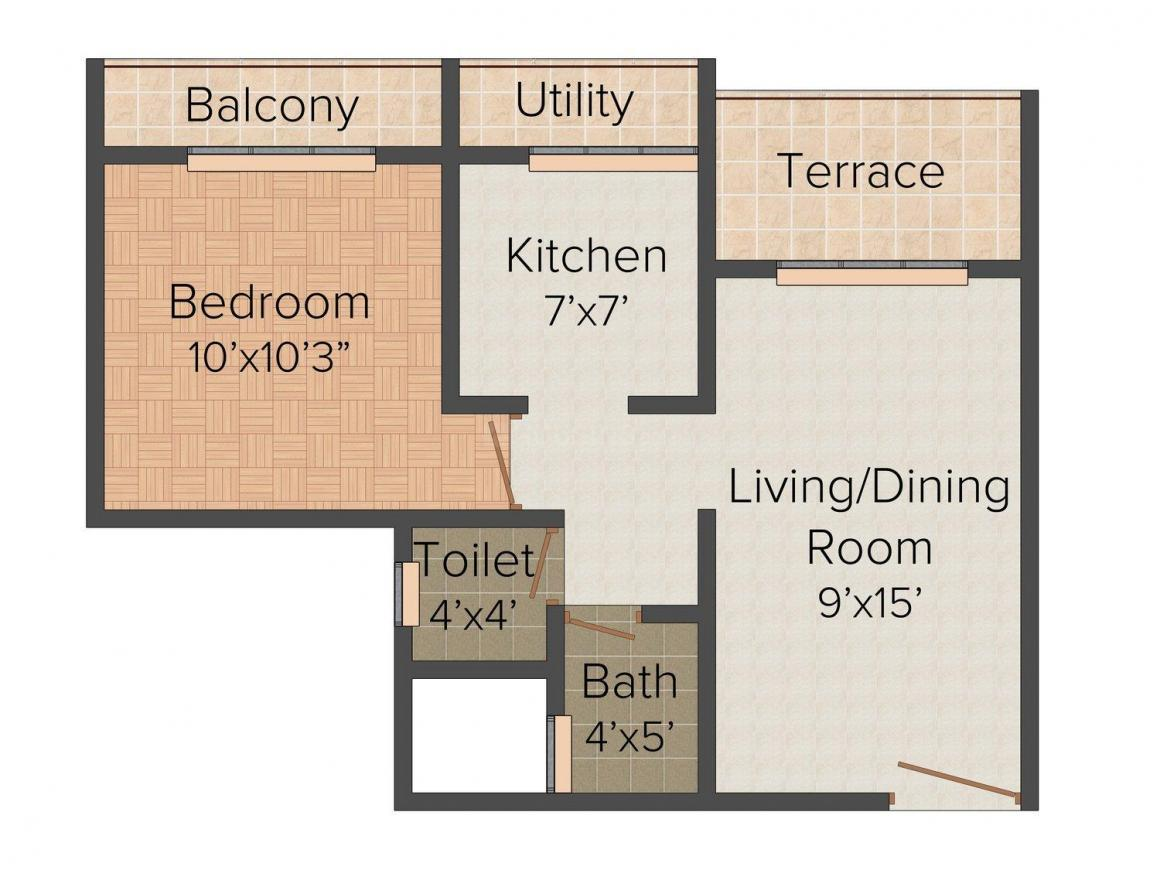 Sejal Suyash Pride Floor Plan: 1 BHK Unit with Built up area of 690 sq.ft 1