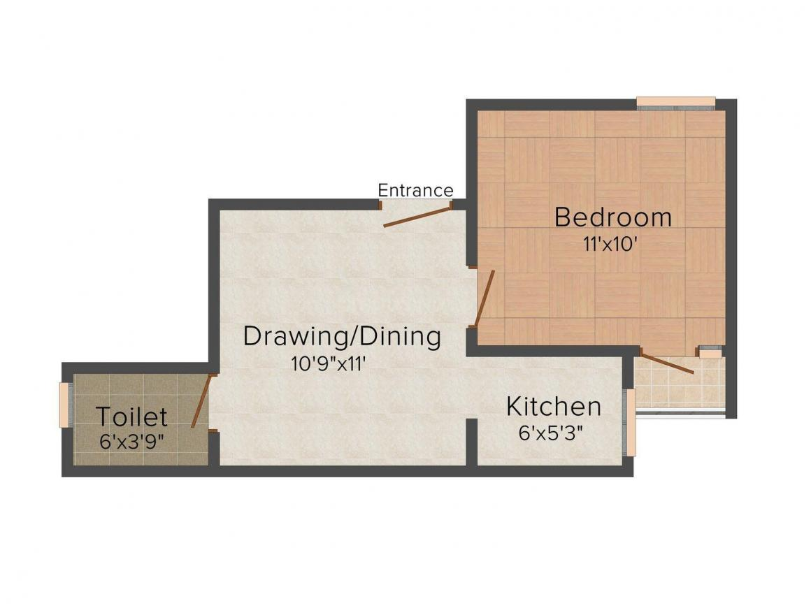CCS Bhati Homes - 1 Floor Plan: 1 BHK Unit with Built up area of 400 sq.ft 1