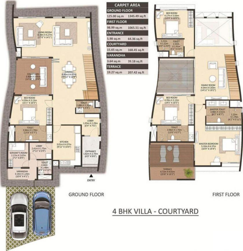 Floor Plan Image of 0 - 2884.62 Sq.ft 4 BHK Villa for buy in Mahindra The Serenes Villa No 14