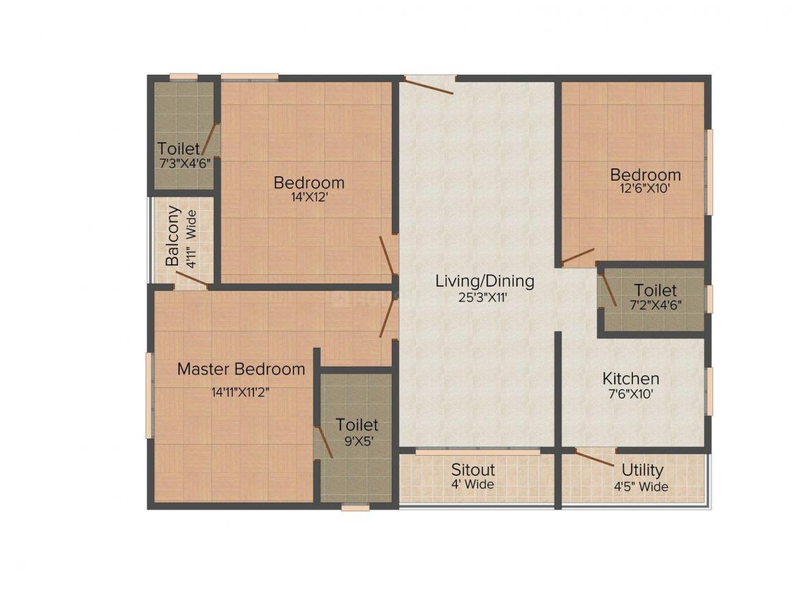 Kribh Westend Serena Floor Plan: 3 BHK Unit with Built up area of 1173 sq.ft 1