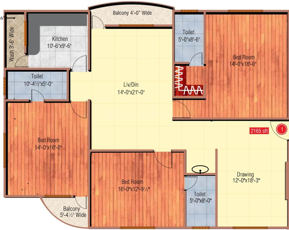 Shamshiri Platina Floor Plan: 3 BHK Unit with Built up area of 2165 sq.ft 1