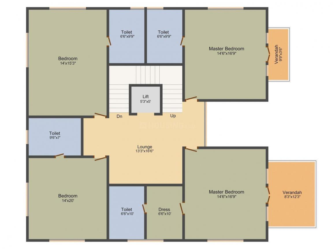 KB Grand Floor Plan: 5 BHK Unit with Built up area of 6282 sq.ft 3