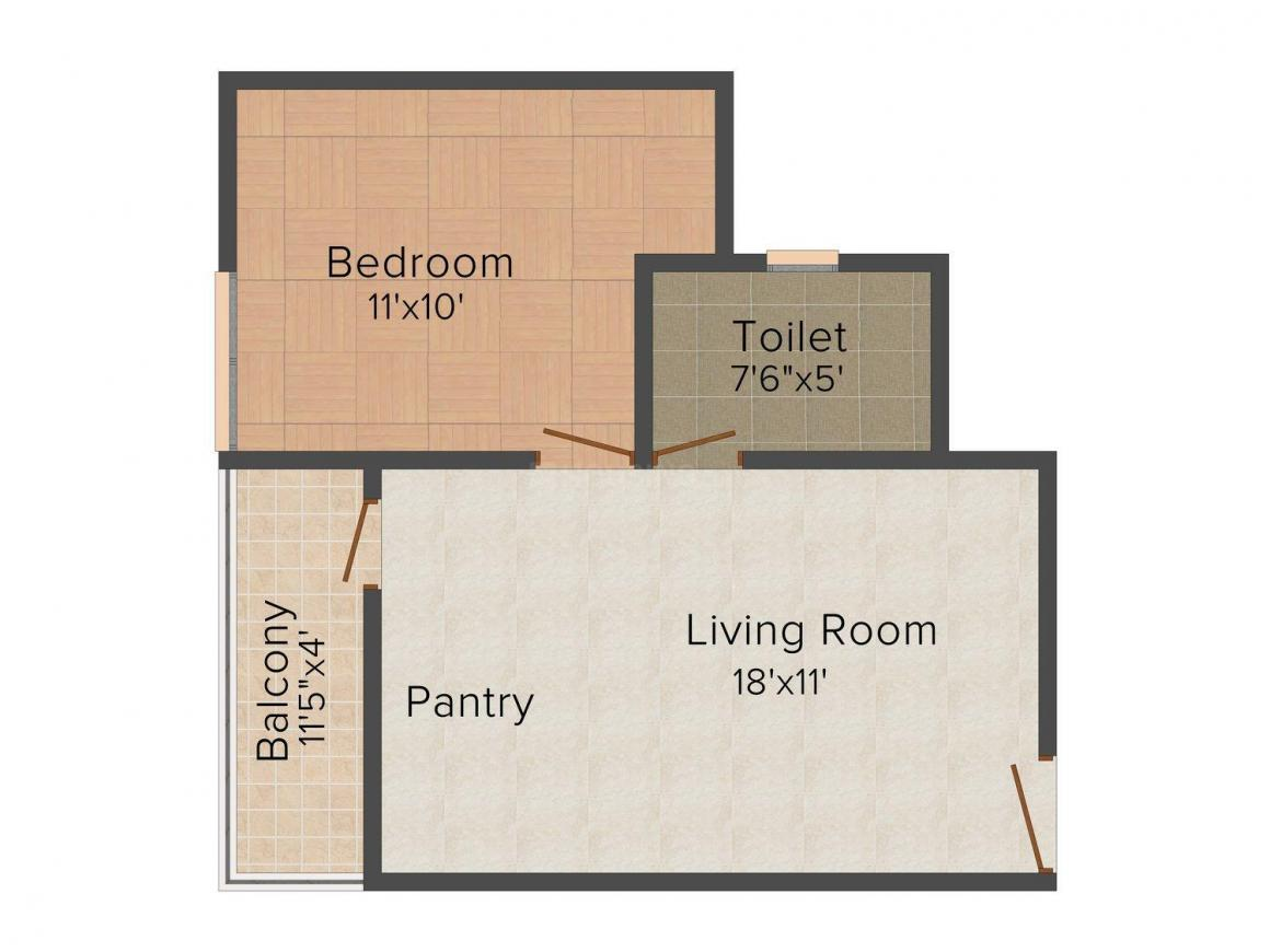 Floor Plan Image of 369 - 1714 Sq.ft 1 BHK Apartment for buy in UDB Maverick