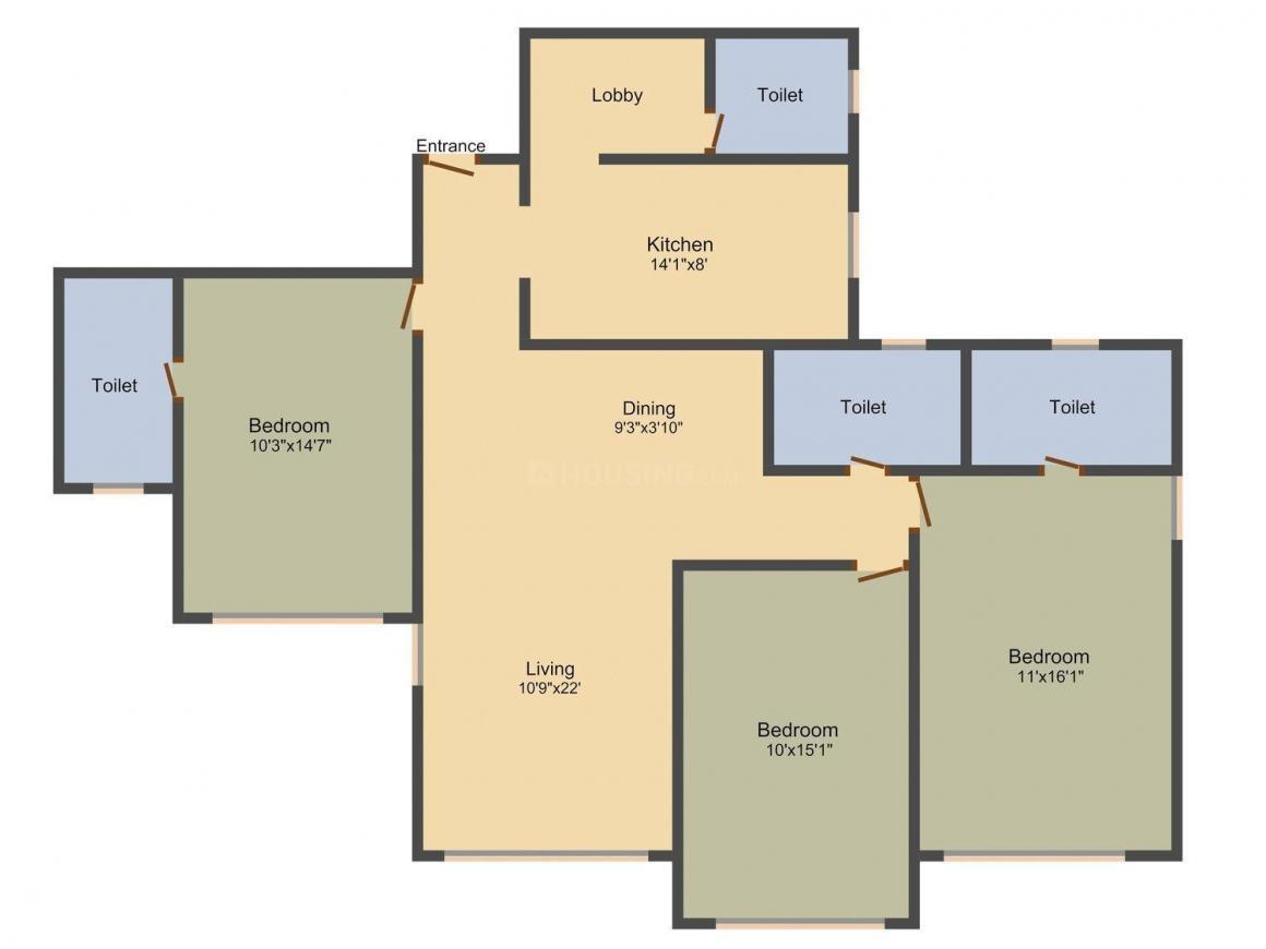 Floor Plan Image of 1850 - 2400 Sq.ft 3 BHK Apartment for buy in Raheja Classique