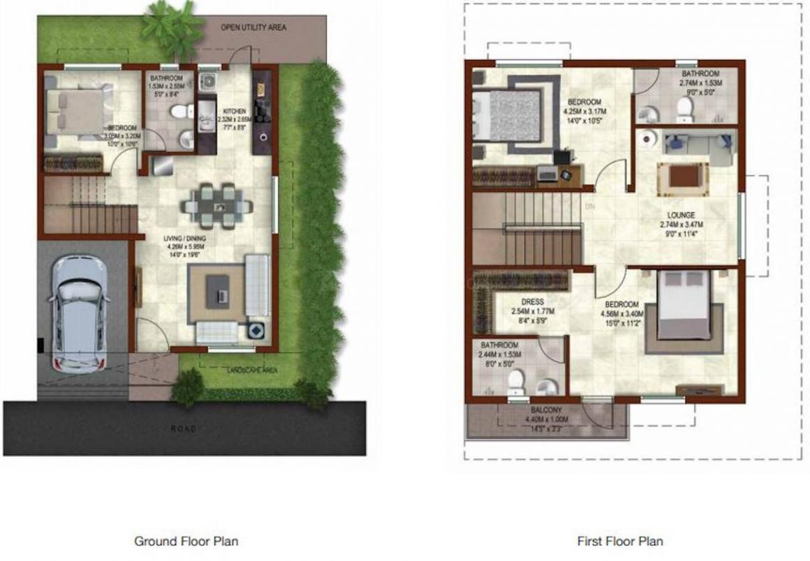 Casagrand Bloom Floor Plan: 3 BHK Unit with Built up area of 1580 sq.ft 1
