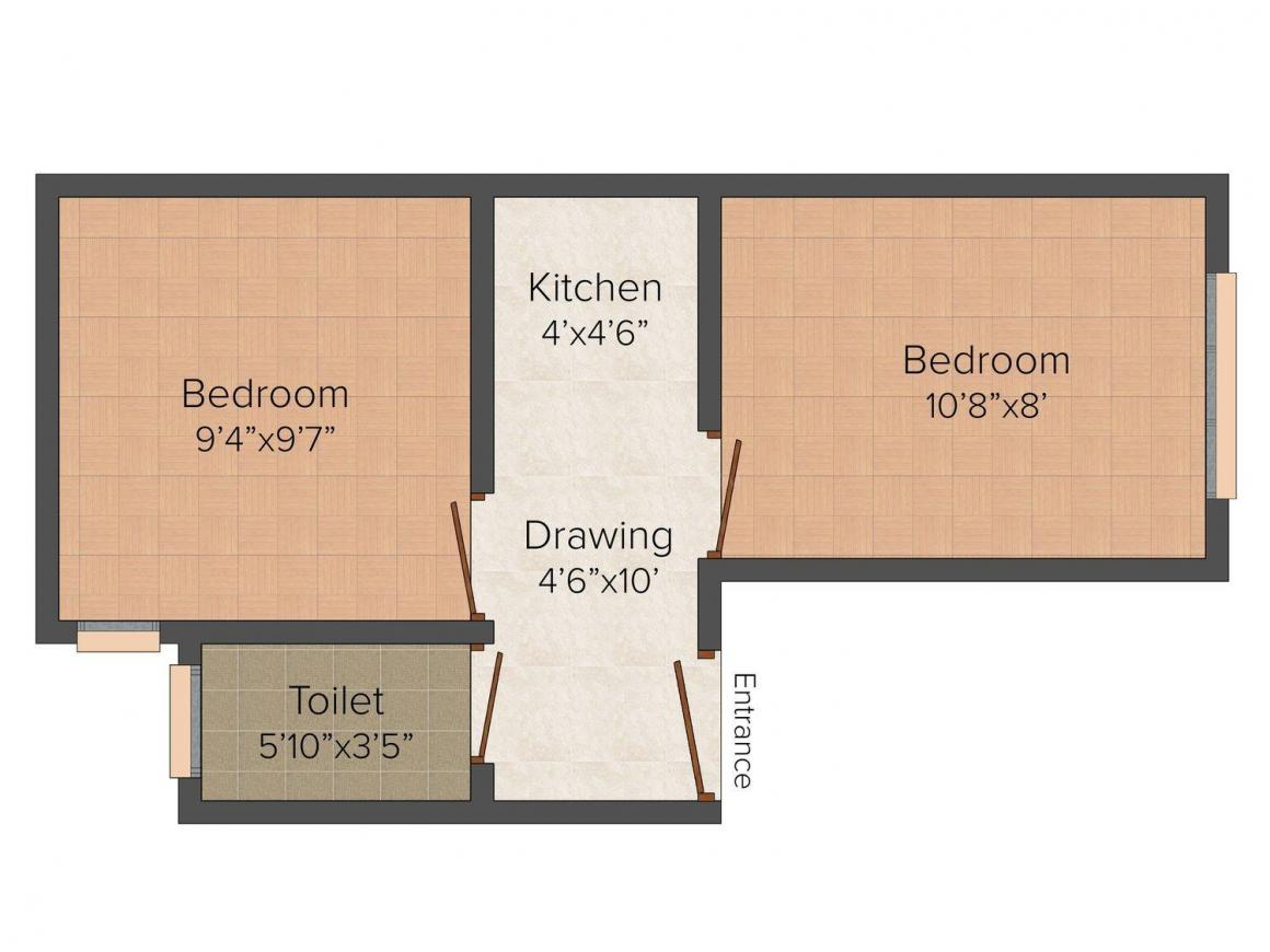 Shubh Home - 3 Floor Plan: 2 BHK Unit with Built up area of 405 sq.ft 1