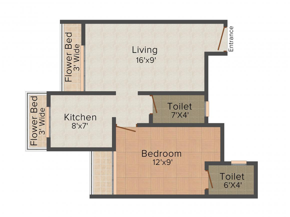 Floor Plan Image of 670.0 - 975.0 Sq.ft 1 BHK Apartment for buy in  Heights