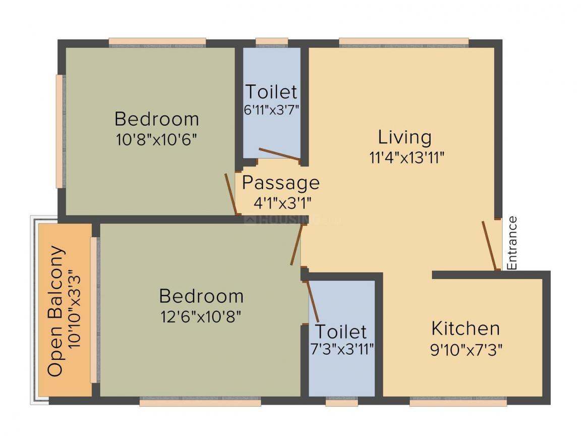 Floor Plan Image of 535 - 575 Sq.ft 2 BHK Apartment for buy in Pearl Harmony