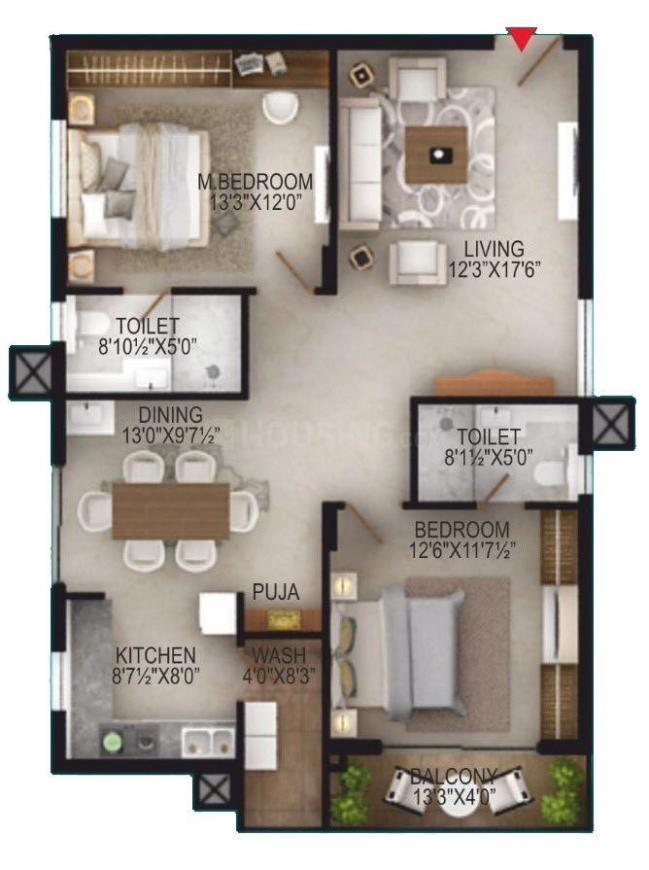 EIPL Apila Floor Plan: 2 BHK Unit with Built up area of 1395 sq.ft 1