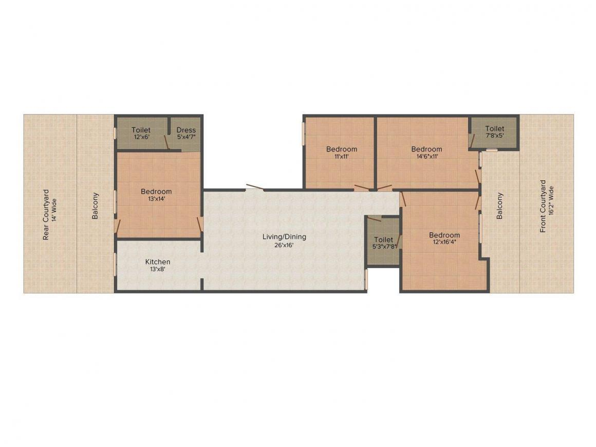 Srishti Floors A 2446 Floor Plan: 4 BHK Unit with Built up area of 2520 sq.ft 1