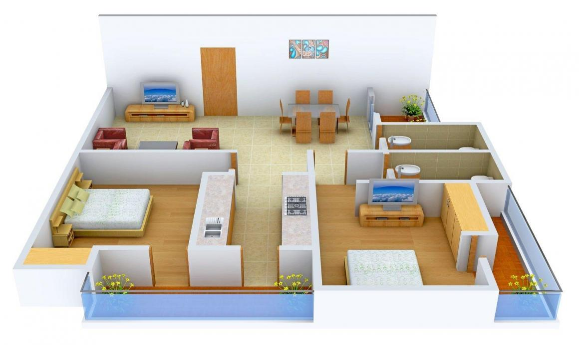 Floor Plan Image of 1299 - 1681 Sq.ft 2 BHK Apartment for buy in Aashirwad Govindam