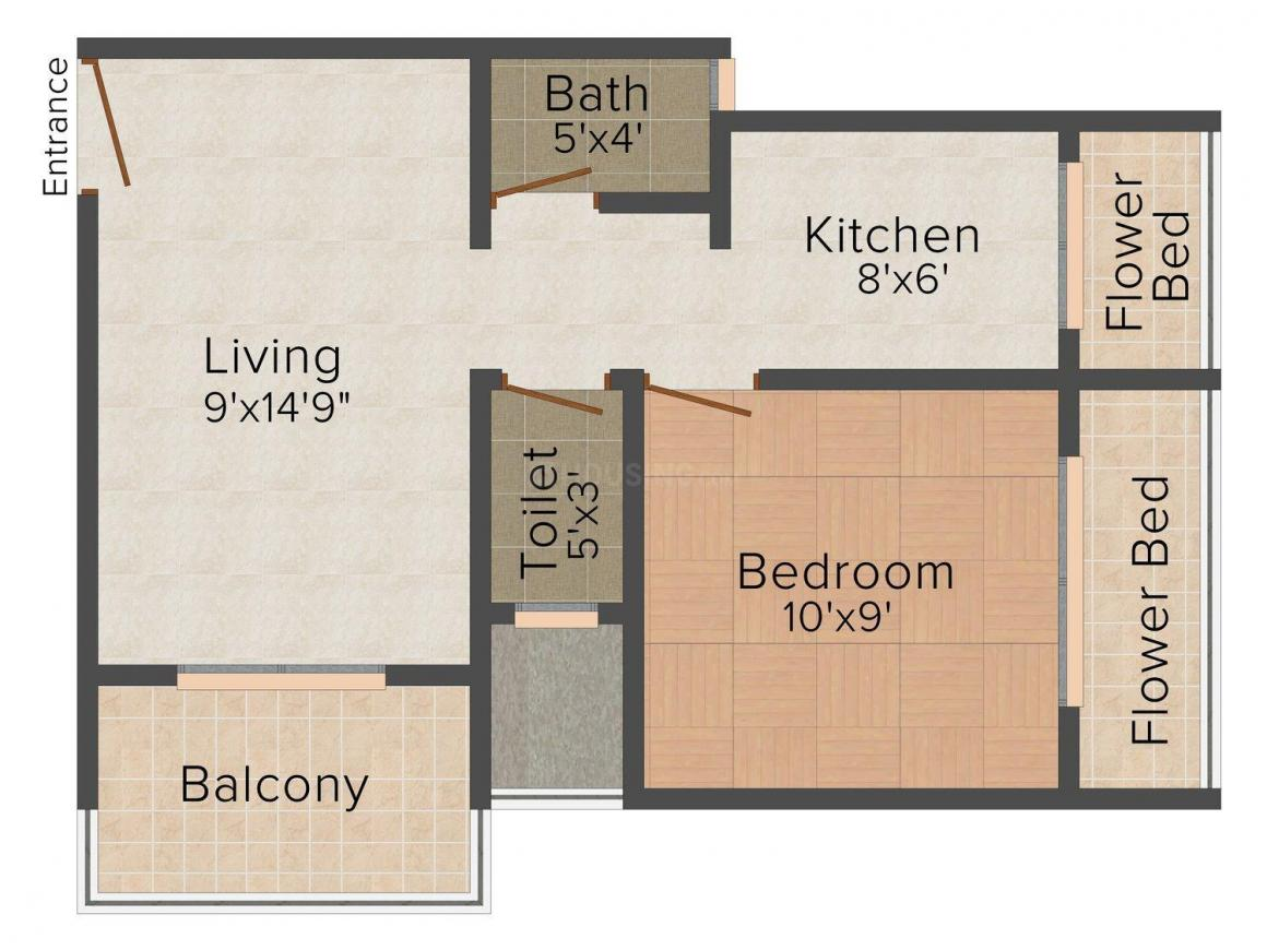 Floor Plan Image of 0 - 650.0 Sq.ft 1 BHK Apartment for buy in Fourhand Momai Residency IV