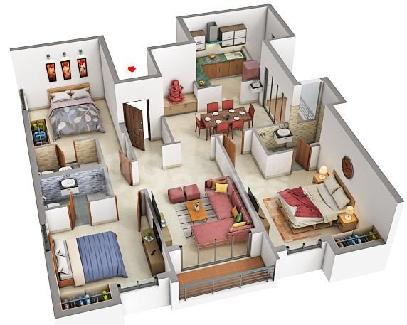Marutham Rythm Floor Plan: 2 BHK Unit with Built up area of 956 sq.ft 1