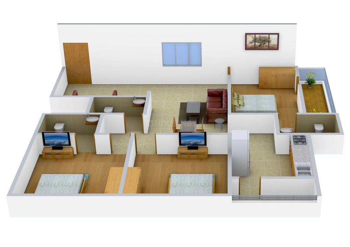 Vandana Flora Floor Plan: 3 BHK Unit with Built up area of 1555 sq.ft 1