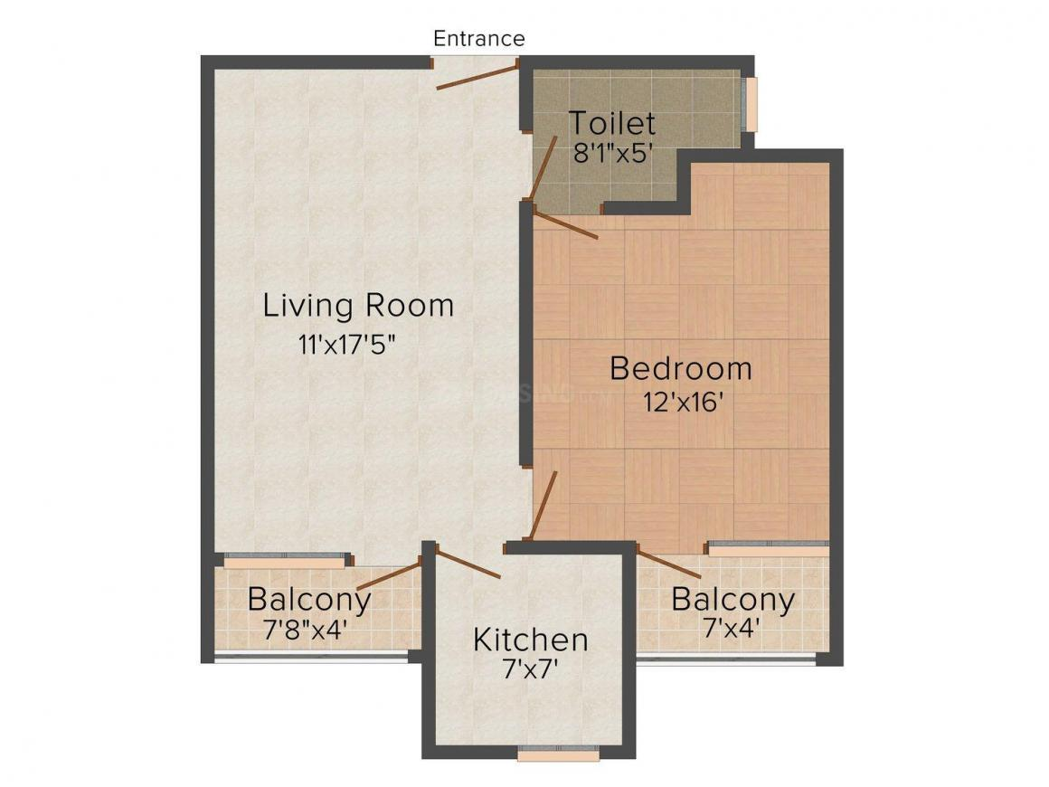 Floor Plan Image of 641 - 1965 Sq.ft 1 BHK Apartment for buy in Sunny Square