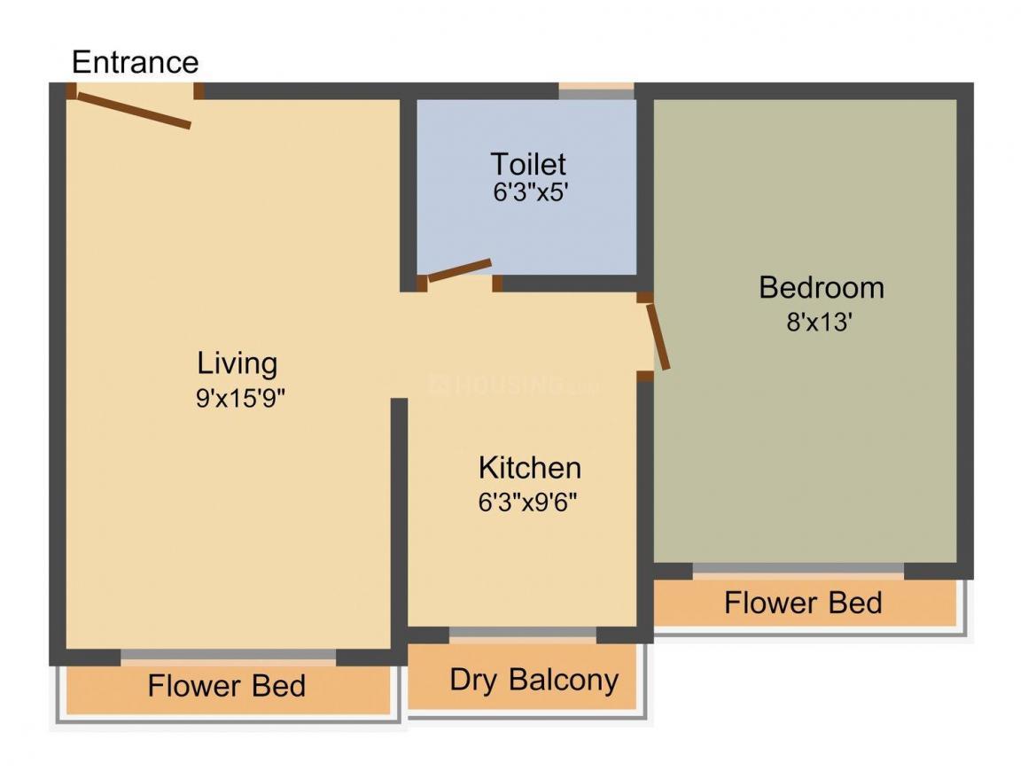 Floor Plan Image of 0 - 650.0 Sq.ft 1 BHK Apartment for buy in Aarti Priti Heights