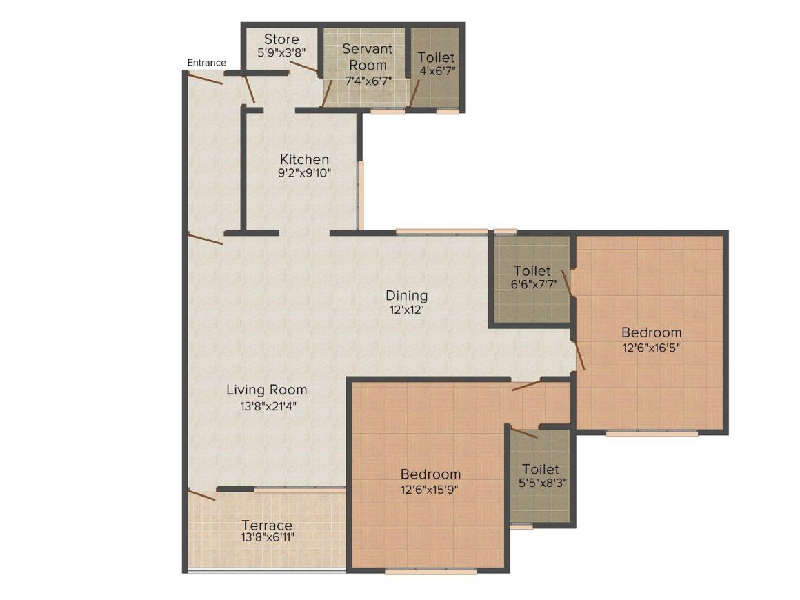 Devi Empress Court Floor Plan: 2 BHK Unit with Built up area of 1335 sq.ft 1
