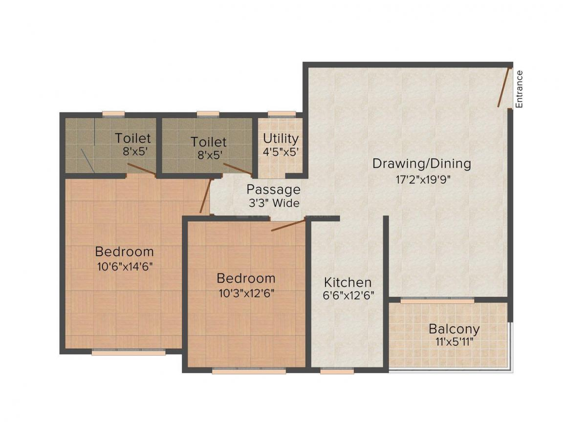 Floor Plan Image of 0 - 1180 Sq.ft 2 BHK Apartment for buy in Ashiana Enclave Heights