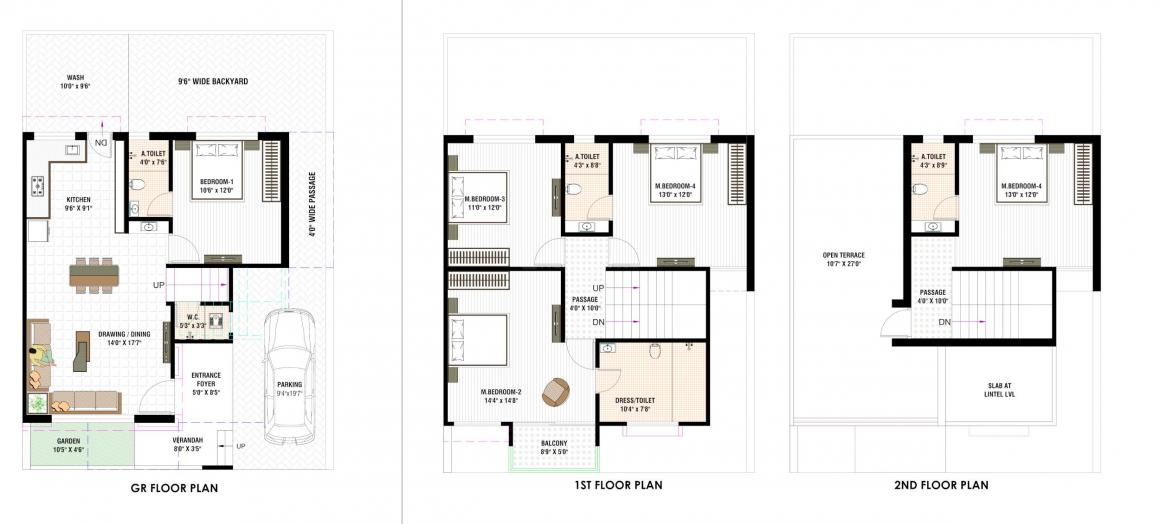 Samay Nasim Greens Floor Plan: 5 BHK Unit with Built up area of 1633 sq.ft 1