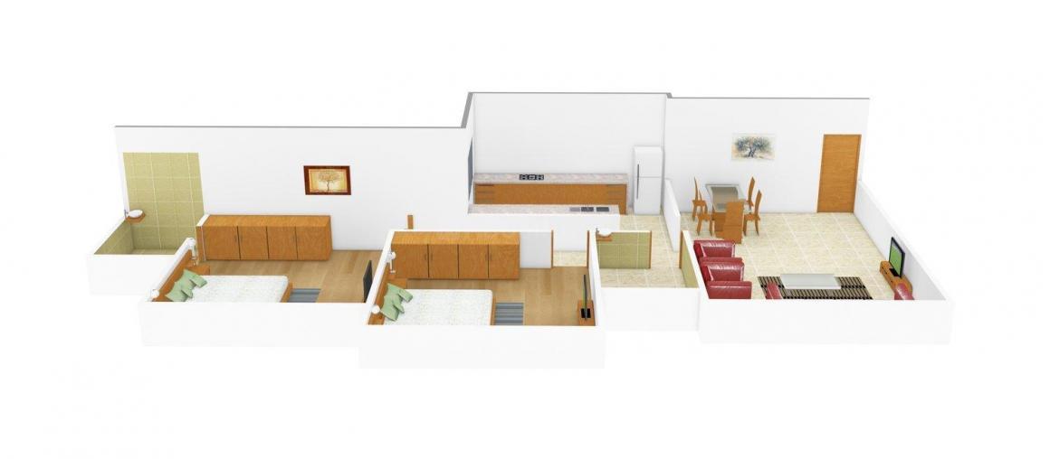 Floor Plan Image of 590 - 615 Sq.ft 2 BHK Apartment for buy in Kiran Victory Elegance