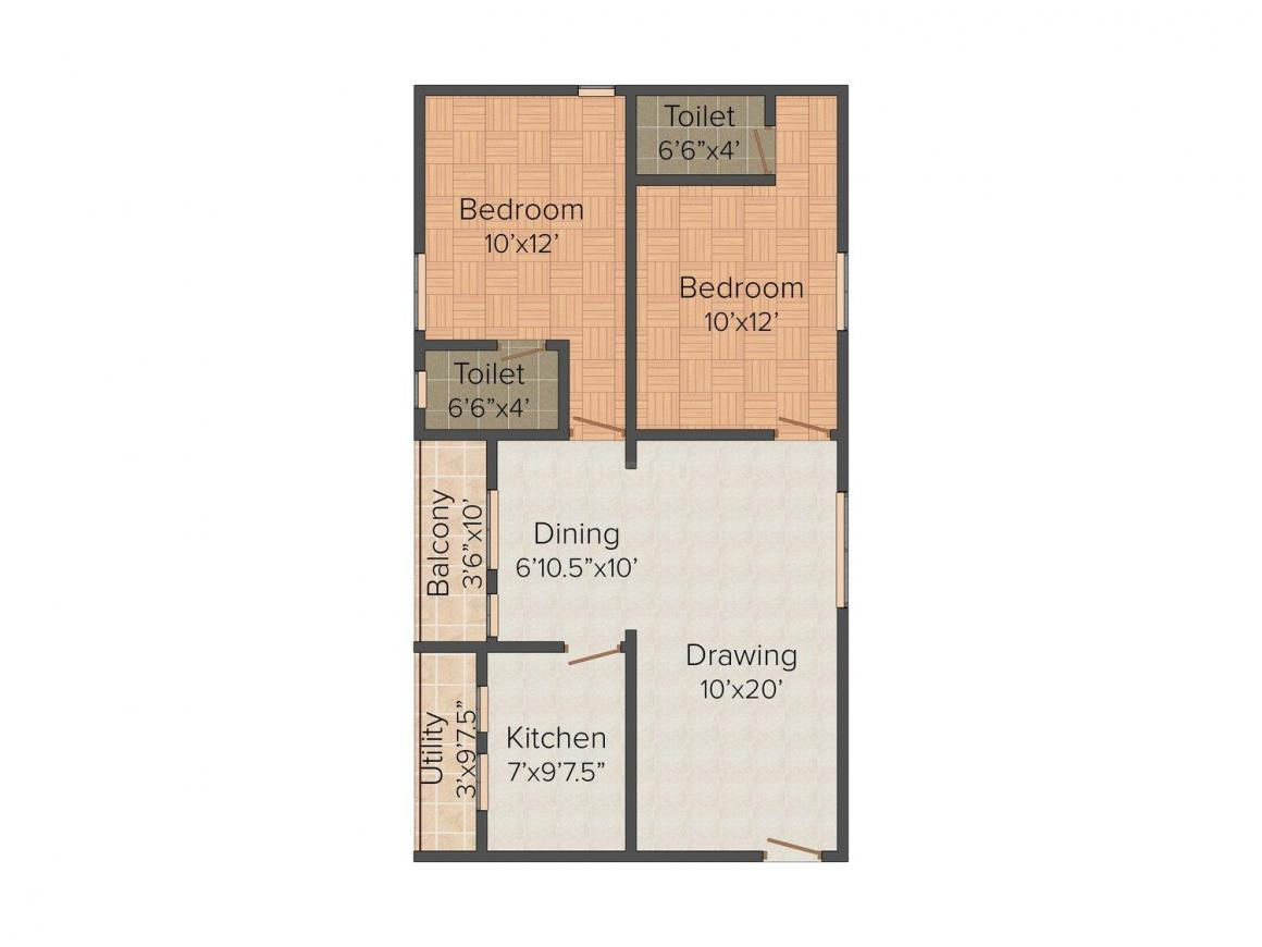 Floor Plan Image of 1000 - 1585 Sq.ft 2 BHK Apartment for buy in Divine Lake View Residency