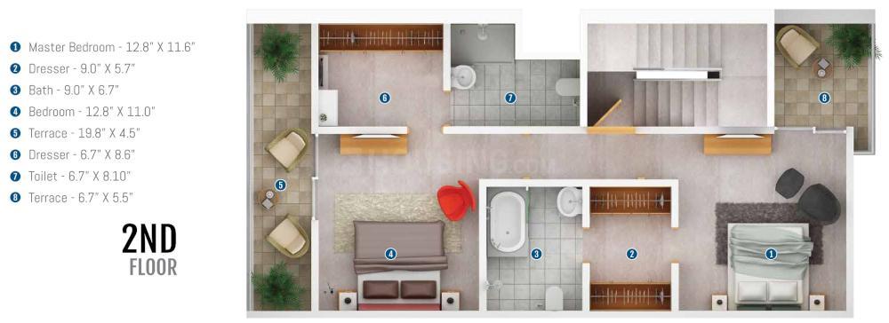 Prasad Pyramid County Bhukum Floor Plan: 4 BHK Unit with Built up area of 1427 sq.ft 3