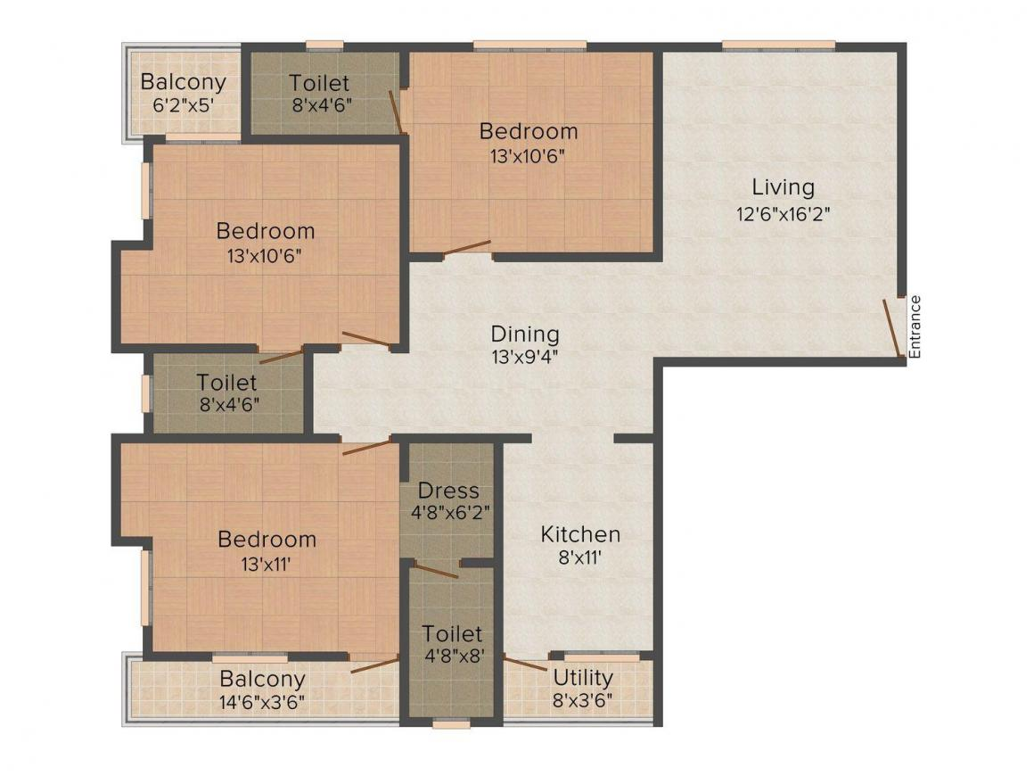 Floor Plan Image of 1197.0 - 1500.0 Sq.ft 2 BHK Apartment for buy in CMRS Sai Dale