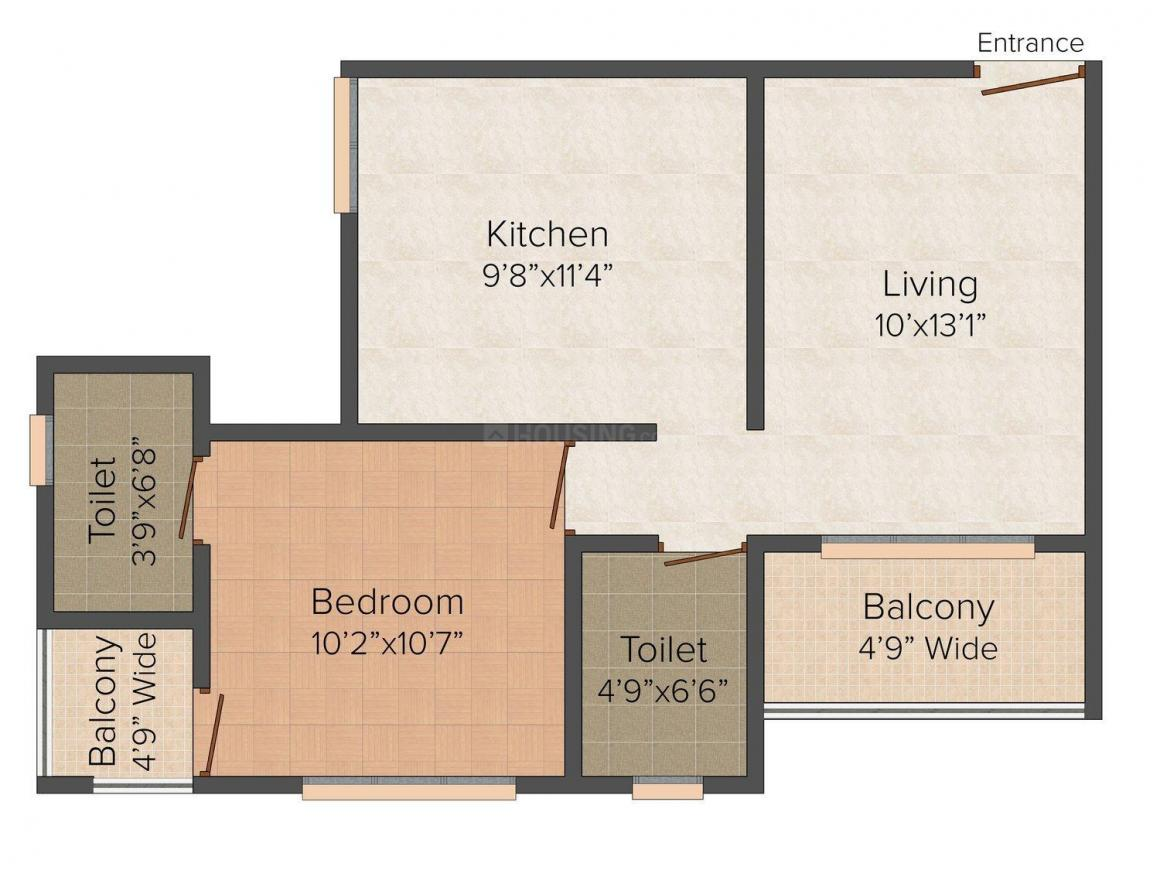 Floor Plan Image of 640.0 - 870.0 Sq.ft 1 BHK Apartment for buy in The Alps Valley