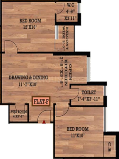 Floor Plan Image of 748.0 - 1095.0 Sq.ft 2 BHK Apartment for buy in Samridhi Residency