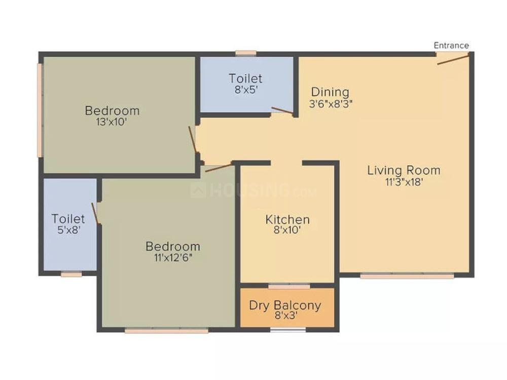 Vora Centrico Floor Plan: 2 BHK Unit with Built up area of 752 sq.ft 1